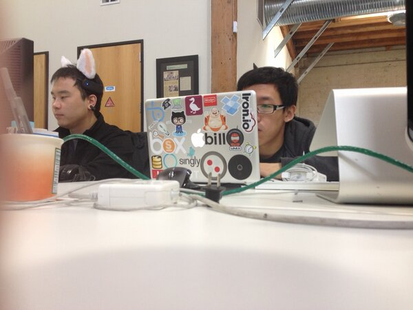 Hacking at #musichackday.  Those ears are motorized. http://pic.twitter.com/joM55nQC