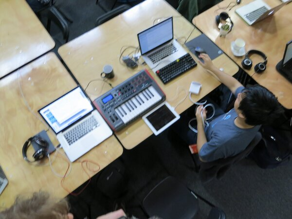 Our @musichackday setup. (Myself and @wlue.) http://pic.twitter.com/13mme4fs