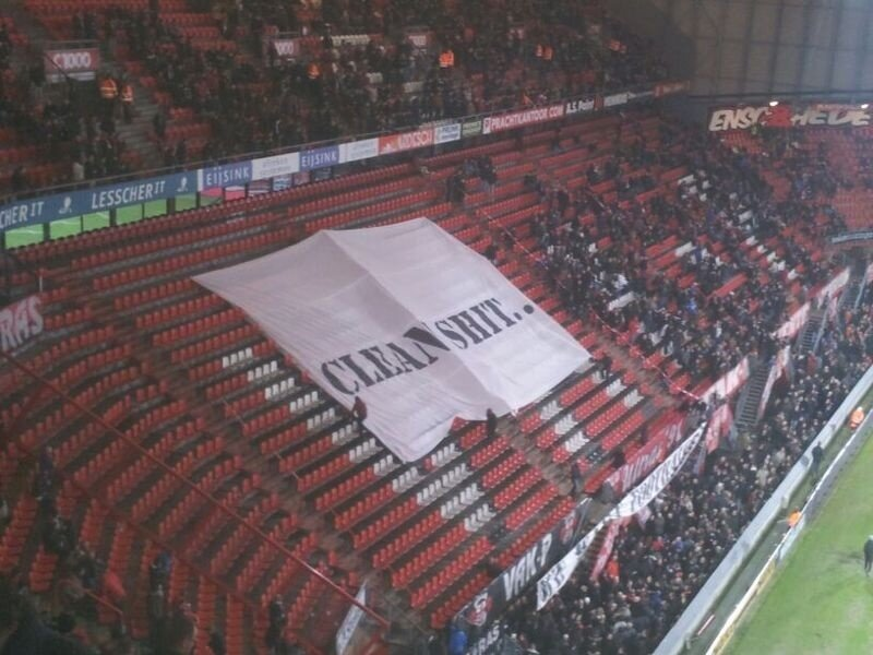 Pictures: FC Twente fans troll Steve McClaren with a couple of comedy banners