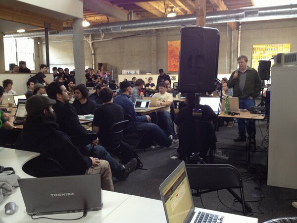 #musichackday SF kicking off at @tokbox with intros by @plamere of @echonest http://pic.twitter.com/99oIEkCV