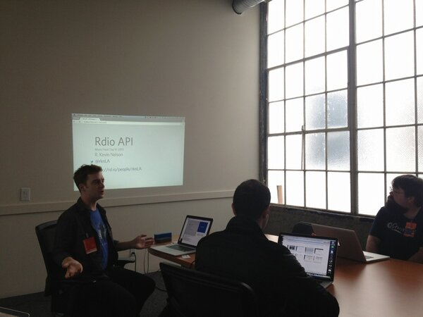 RT @mansillaDEV: #MusicHackDay @RdioAPI demo NOW on the right by @rknLA — JavaScript SDK is getting uber strong. http://pic.twitter.com/dwDIVEZA