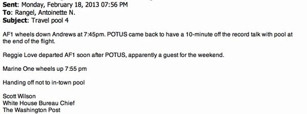 "Politico: ""There's iron-fisted control of access to White House information and officials."" Last night's pool report: http://pic.twitter.com/w7ZTFoEt"