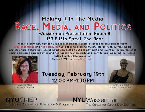 (@NYUWasserman) #SMW is here! I'll be live tweeting 'Making it in the Media: Race, Media + Politics' #WassSCPS http://pic.twitter.com/uqBm72Wj