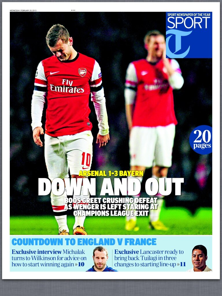 The back pages after Arsenal 1   Bayern Munich 3