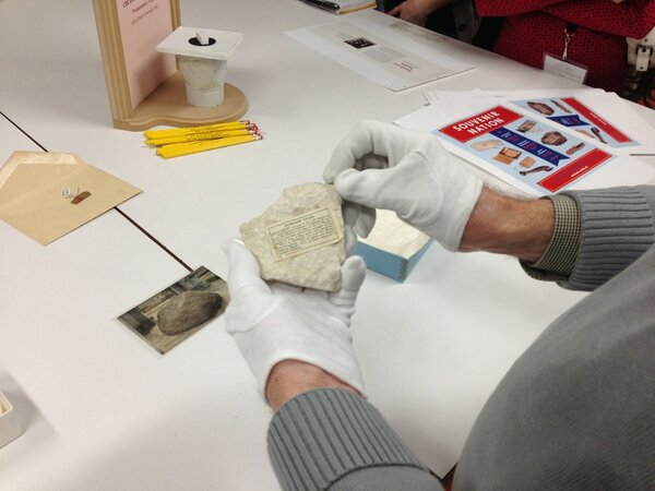 The Old World side of me is totally geeked out about this: a stone from the dungeon of Joan of Arc. #SITweetup http://pic.twitter.com/SNqCUqIo