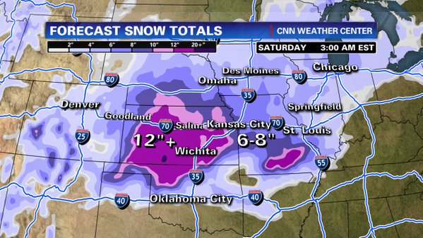 Latest #snow forecasts for the Plains showing widespread amounts up & over a foot in portions of Kansas & Oklahoma: http://pic.twitter.com/CGn9taBq