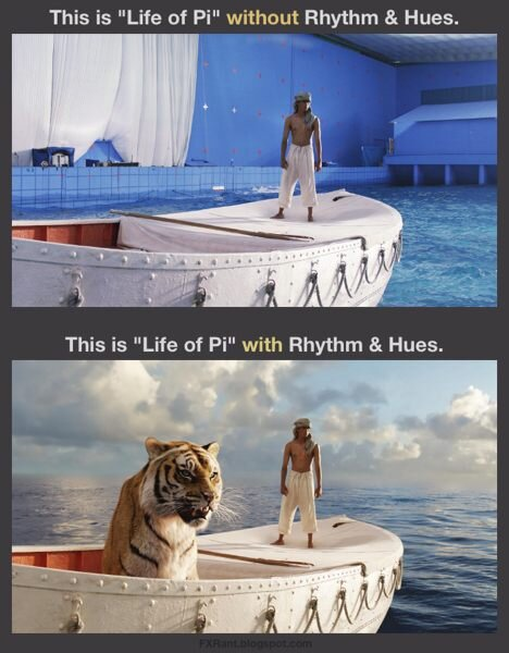 Life of Pi, before and after. Photo credit: Todd Vaziri (@tvaziri)