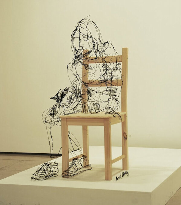 Wire Sculpture That Looks Like Sketch by David Oliveira http://t.co/7Lf0YGOLZn