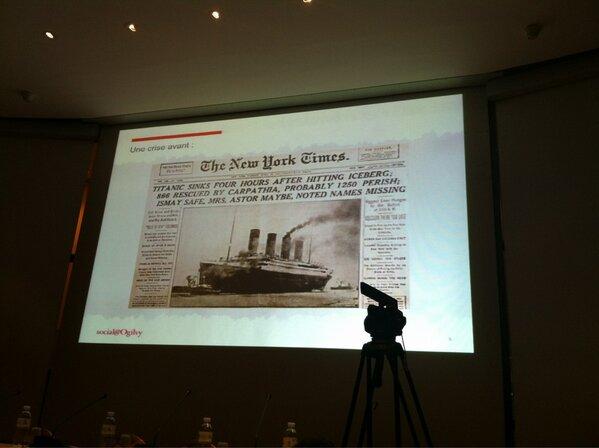 #smwcom Premier exemple de com de crise Le Titanic http://pic.twitter.com/RIE9MwMr4j