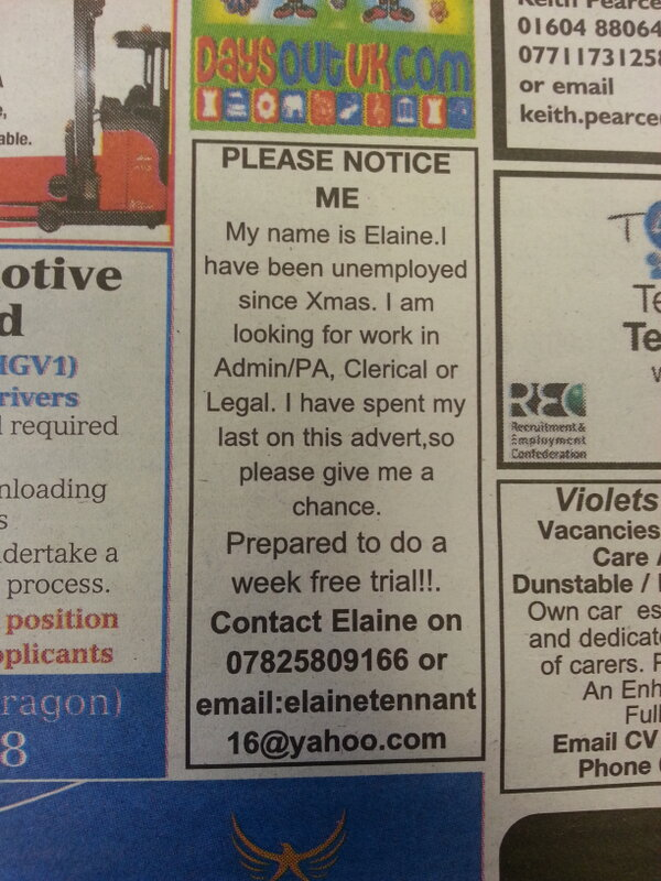 "Sally-Anne Stewart on Twitter: ""Touching ad in our paper this week ..."