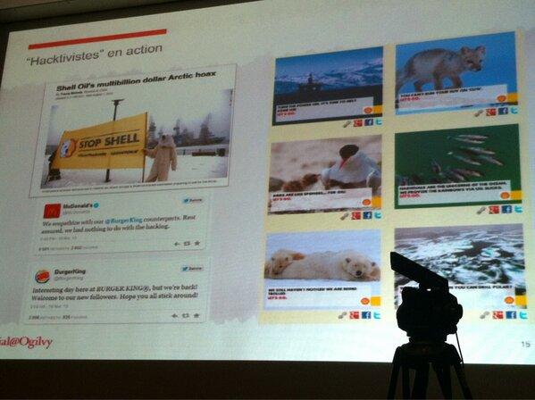 #smwcom 4ème cause Les hactivites l'exemple de Shell avec leurs messages décalés. http://pic.twitter.com/TlAIBDjJlx