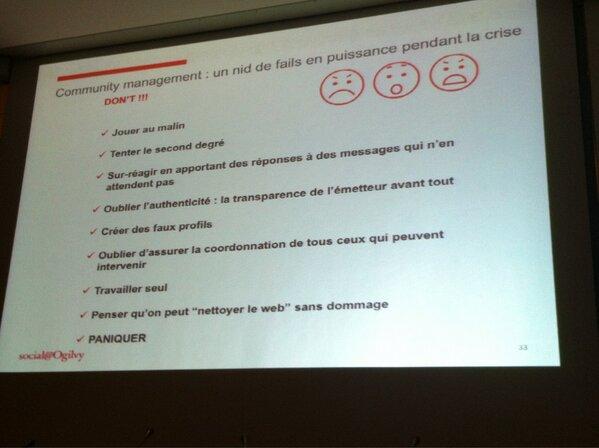 #smwcom Quelques astuces pour les CM dans la gestion de crise #smwparis http://pic.twitter.com/1lvI8FuzRr