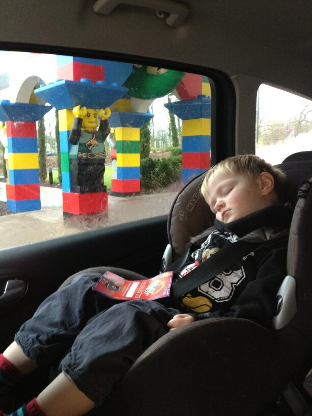 asleep outside Legoland hotel