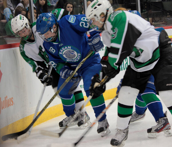 #Eagan's Alison Vecellio battles two H-M players up against the boards in the 2nd period. http://pic.twitter.com/1XTyPOMLM0