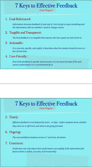 """@ChrisWejr: 7 Keys to Effective Feedback (Wiggins) #sd78 http://pic.twitter.com/ovYZo395nm"""