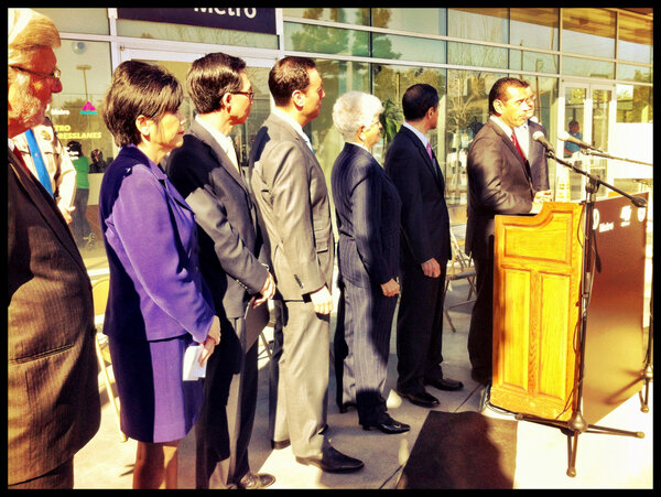 MT @lamayorsoffice: Mayor Villaraigosa announces the 2/23 opening of @metrolosangeles expresslane on I-10. http://pic.twitter.com/HcbC44AgfO #LAGov #LA