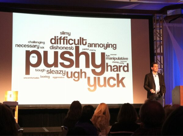 """Words that most people use to describe """"selling"""" haha Daniel Pink, author of """"Drive"""" at #wi8 #danielpink http://pic.twitter.com/v1SnLkGbIS"""