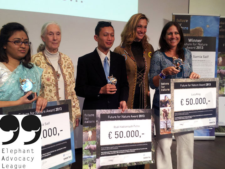 Presentation Future for Nature Awards 2013, left to right Samia Saif, Jane Goodall, Rudy H. Putra, presenter, Lucy King