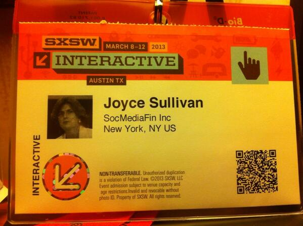 Twitter / JoyceMSullivan: Badge ready! Time to get some ...