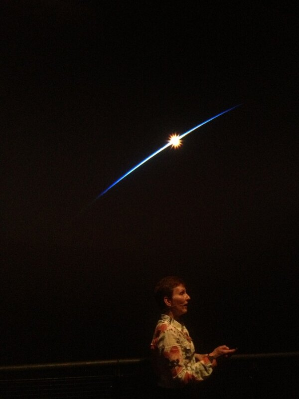 Orbiting in space you see sunrise 16 times a day says Helen Sharman #SM_HP #AskHelen http://pic.twitter.com/n8yalpcgqc