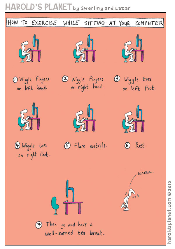 Stott Pilates On Twitter Fun Friday Cartoon How To Exercise While Sitting At Your Desk Funfriday Http T Co Xoehvesfaf