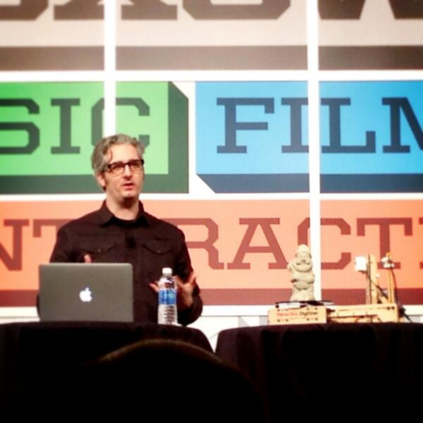"@Bre Pettis launching prototype for #Makerbot 3D. ""You can fill the world w garden gnomes if you want."" #SXSWi http://pic.twitter.com/T7noE4aZCL"