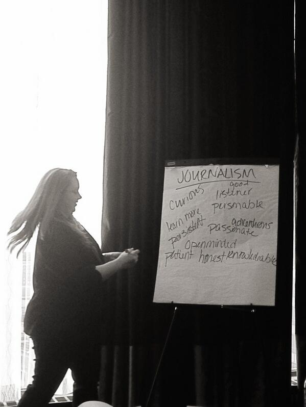 .@tpuckey and #spjscripps brainstorm a list of qualities all good #journalists should have. http://pic.twitter.com/VfOyd60ln1