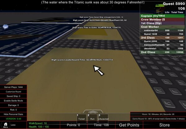 Titanic In Roblox How To Get Points Amaze On Twitter Theamazemanrblx That Leaderboard Time Can Be Converted To 18400 Points On Roblox Titanic Without Losing The Record For Time In Game