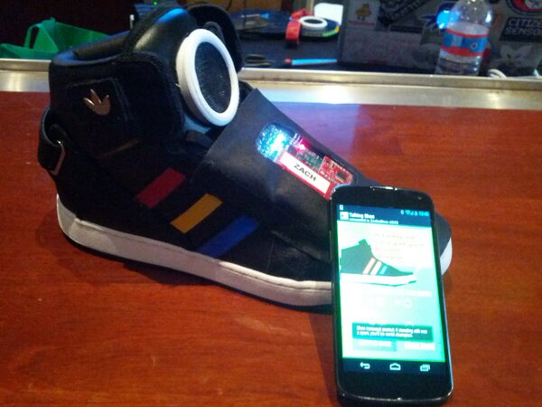 Forget Google Glass. Meet Google Shoe. Wired with sensors, it can stream data. Just a demo, not shipping http://pic.twitter.com/c4cJJ2LhXb
