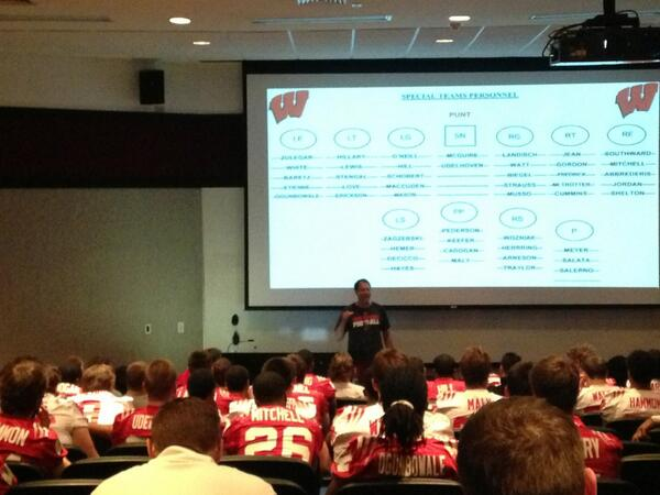 Special Teams Mtg underway at #Wisconsin. Spring Ball is officially begun! #Badgers #OnWisconsin http://pic.twitter.com/glRYbucG66