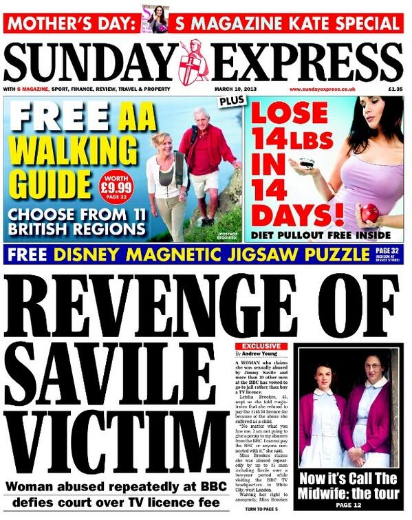 Twitter / suttonnick: Sunday Express front page - ...