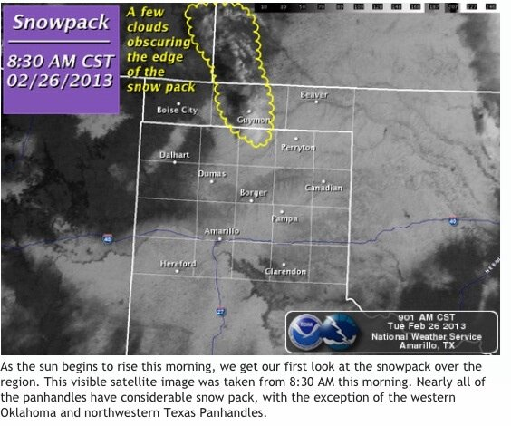 Panhandle under deep #snow MT @TexasAlert: satellite of the snowpack outlines the Panhandle especially near Amarillo http://pic.twitter.com/5z0OCOKpsF