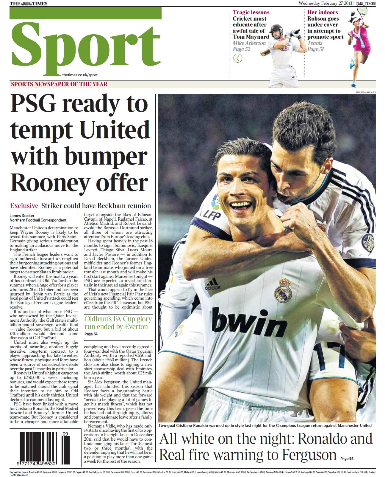 The Times: PSG want £40m Wayne Rooney to leave Man United to partner with Zlatan Ibrahimovic
