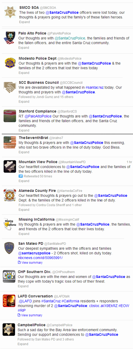Police & other agencies around the nation send messages of condolence for Santa Cruz Police deaths today. http://pic.twitter.com/pqrIDKwipL