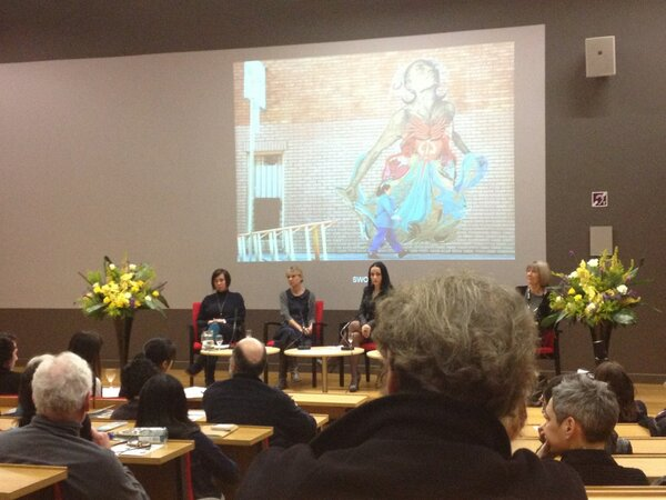 The panel with street artist Swoon in the background #LSElitfest http://pic.twitter.com/yvInkkbb9J