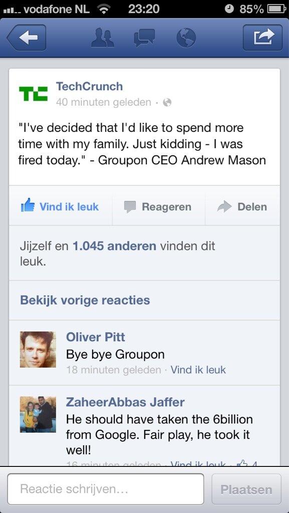 Wat een strakke actie zeg RT @renebolier: Haha, die ex-CEO van Groupon heeft wel humor.. http://t.co/2d7IWNWDAR