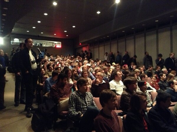 Audience Q&A begins at packed #MITNateSilver event. http://pic.twitter.com/gLgaQ08WqX