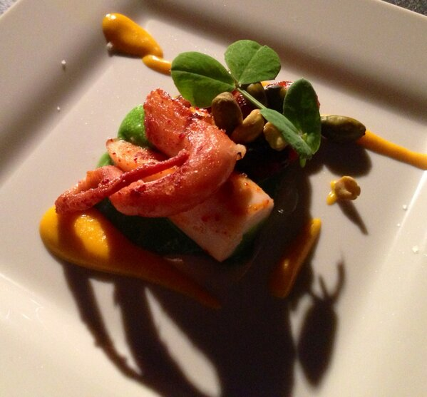 Octopus, carrots cooked in embers, English peas. #chswff http://pic.twitter.com/QlvHPQgjJ7