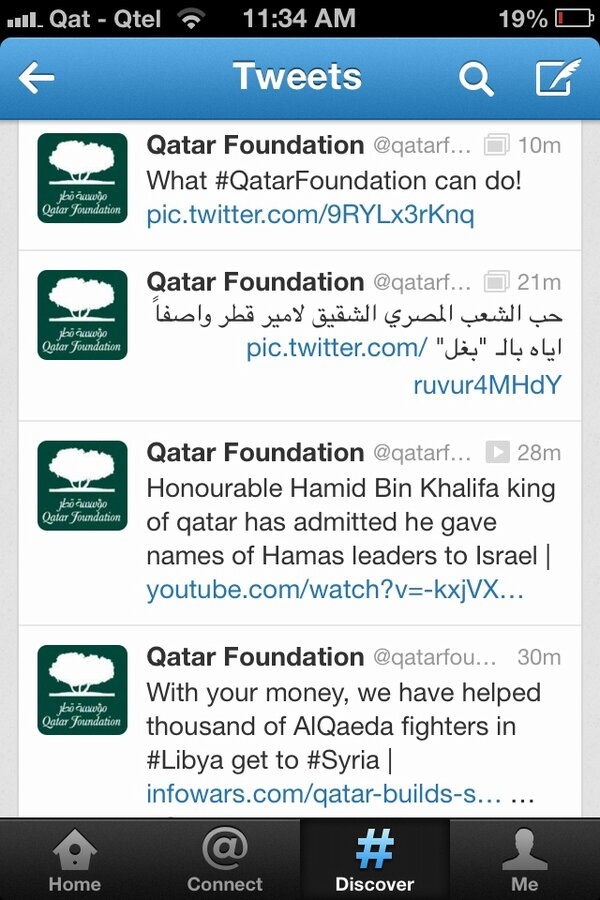 First it was Tech4Work for students, now this? Looks like @qatarfoundation got hacked on Twitter. #Qatar http://pic.twitter.com/y2gc2atNKP