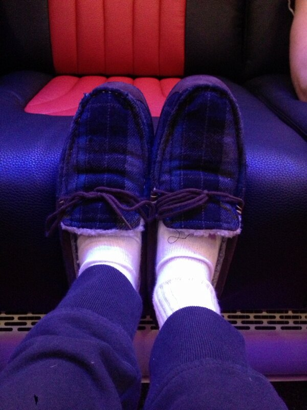 Got me bus slippers on! the driver got them for us as a present ! http://t.co/1A6ec7Vy0g