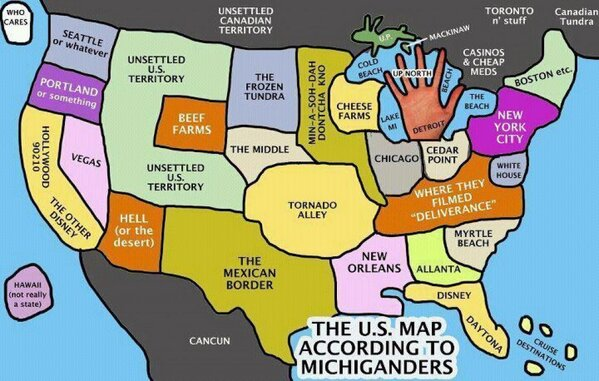 Michigan Problems On Twitter The US Map According To - Michigan on a us map