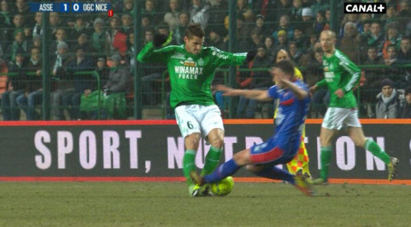 Nices Valentin Eysseric ends Jeremy Clements (St Etienne) season with a horror foul