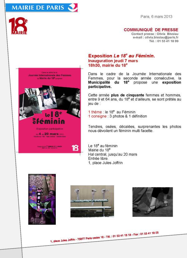 #Mairie18Paris Inauguration de l'expo participative #18auFéminin. Mairie du 18e, 18h30, demain 7 mars. Venez nombreuxpic.twitter.com/B4l7RK2cTM