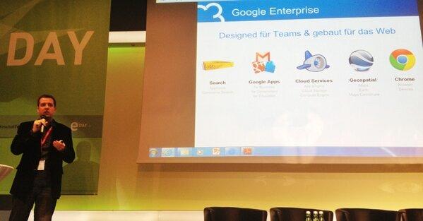 Zunächst ein Abstecher zu den verschiedenen Google Services für Unternehmen … #eday13 #jr http://pic.twitter.com/9ja66F6kPS