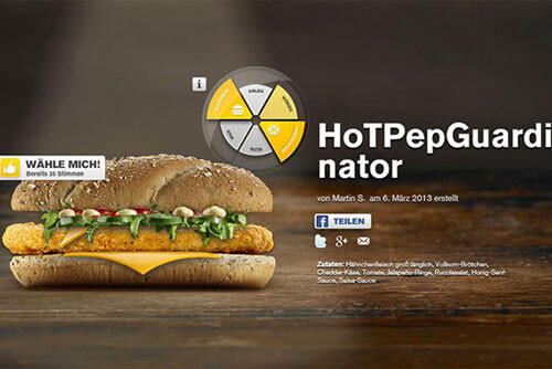 Picture: McDonalds Germany make the Hot Pep Guardinator schnitzel sandwich