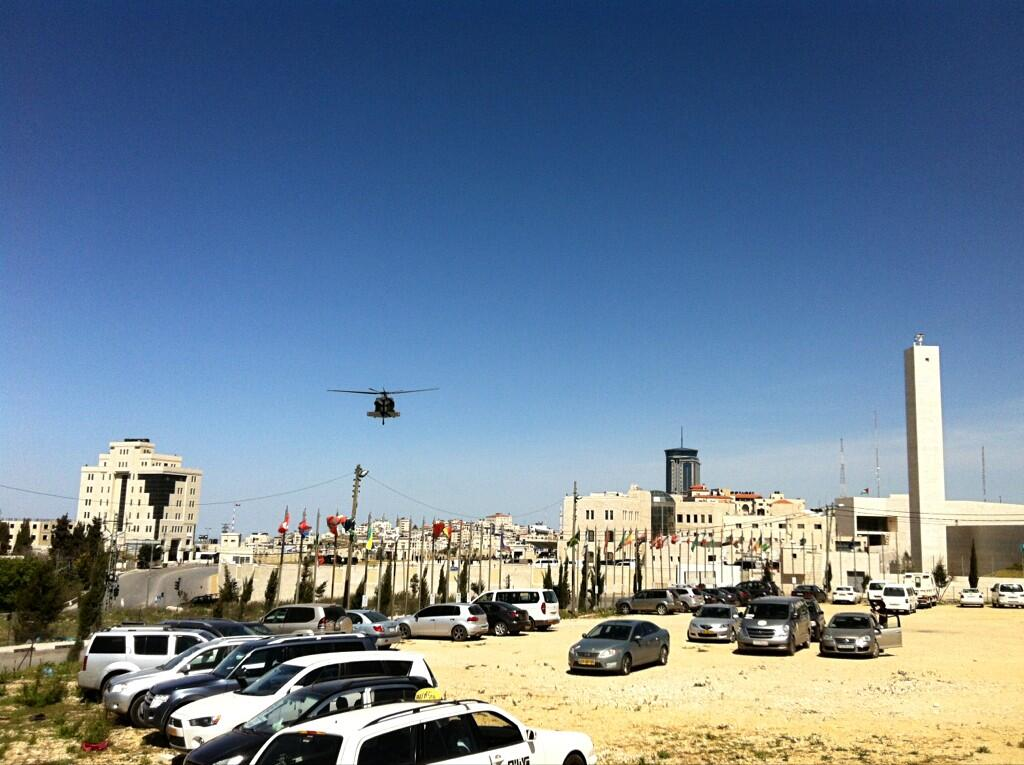 Two more helicopters arrive at the Muqata'a in Ramallah for Obama visit