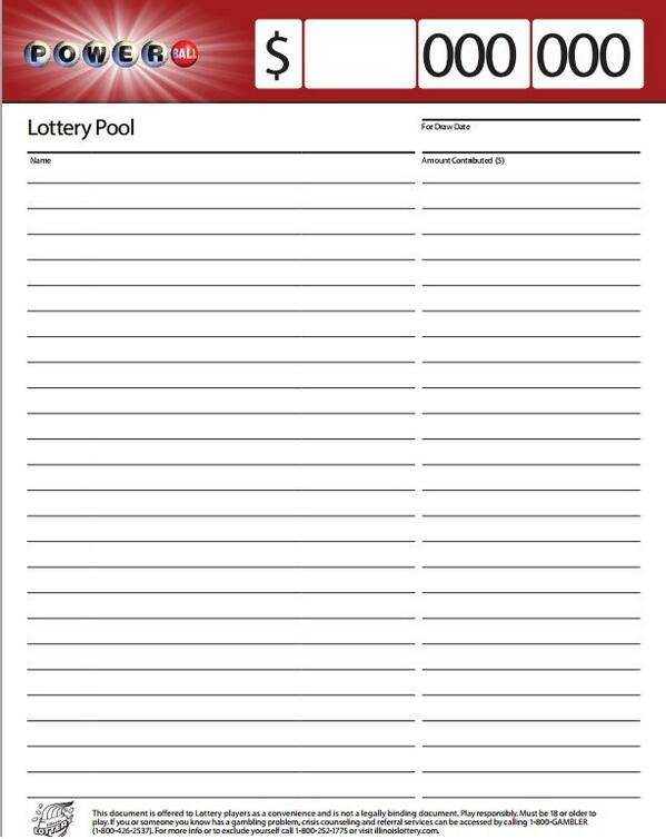Illinois lottery on twitter powerball pool sheet http for Lottery group contract template