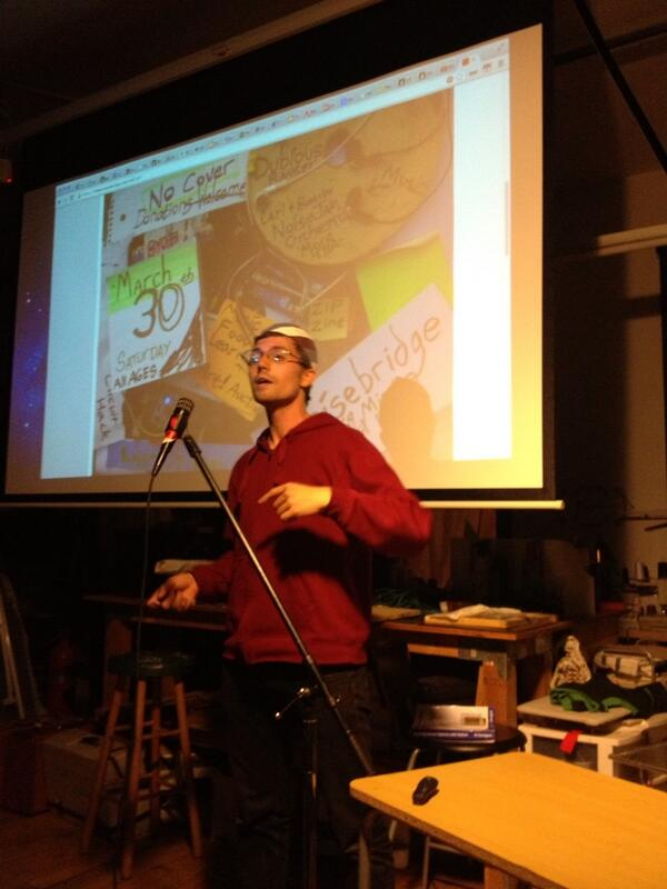 James Sundquist animatedly describing the awesome, awesome, cool, awesome @noisebridge  fundraiser Mar 30th #5mof http://t.co/AtKhqen7Yd