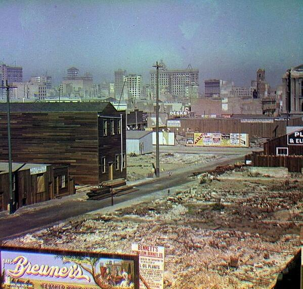 """@BeschlossDC > Here is rare color photography of San Francisco 1906, recovering from earthquake and fire: http://pic.twitter.com/jttWg8ApId"""