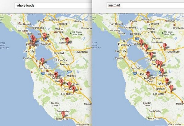 Twitter / JarrettBarrios: MAP: @WholeFoods & @walmart ...